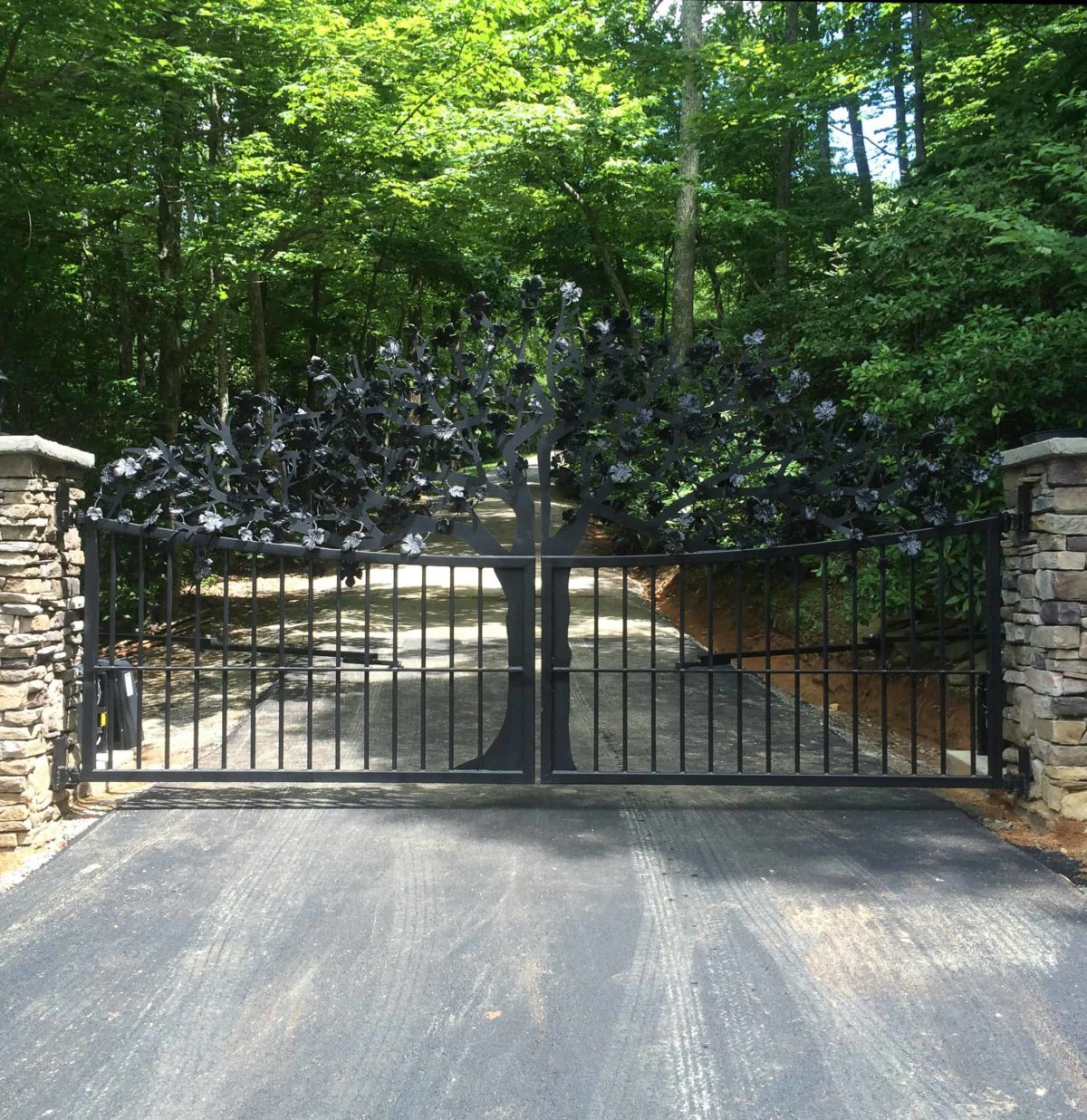 Iron work Tree gate created for home in Saluda, NC