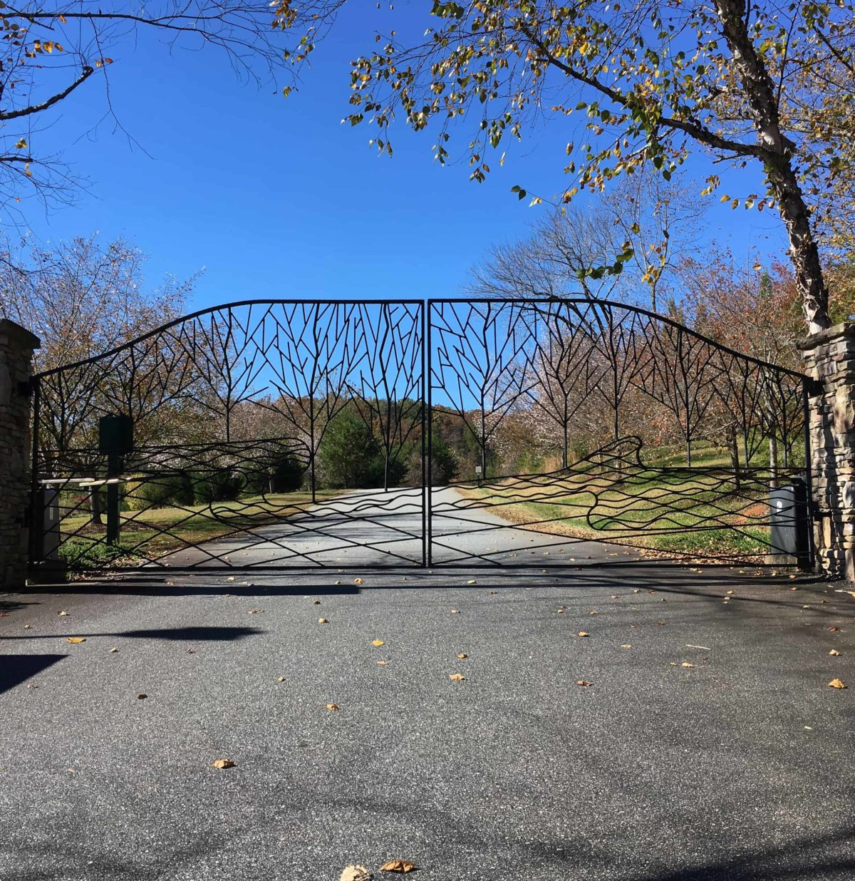 Forged iron gates created for Brookside Forest in Lake Lure NC